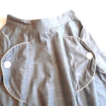 50〜60's chambray big button  skirt