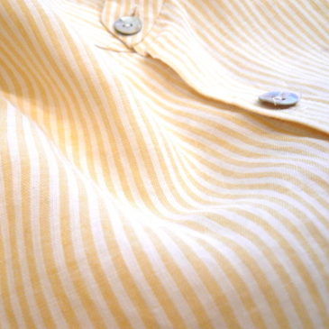 90's yellow white stripe linen shirt
