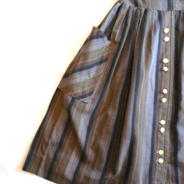 50's brown stripe cotton dress