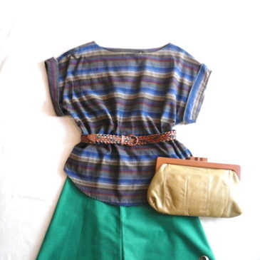 70's tops & green wrap skirt