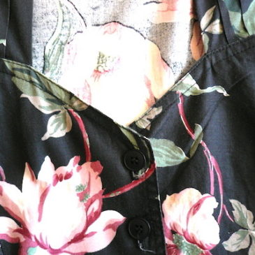 80's flower printed cotton dress
