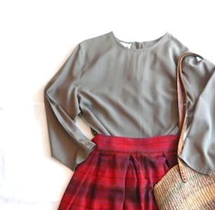 60's rayon checked skirt