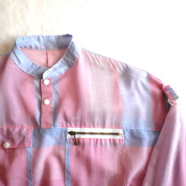 80's pastel pink pull-over & stripe denim pants