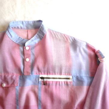 80's pastel pink pull-over & stripe denim pants