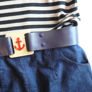 used horizontal stripe silk knit & 80's denim skirt