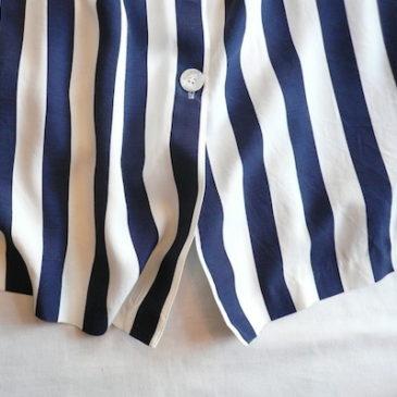 80〜90's white  blouse & stripe skirt