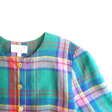 90's madras checked gold button JKT