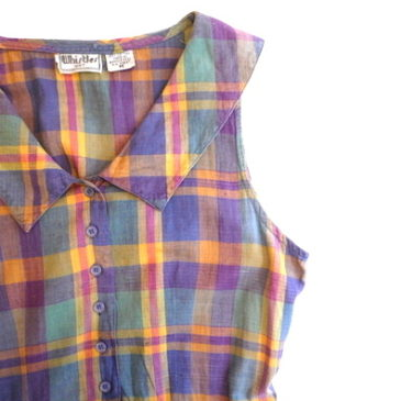 90's madras checked summer dress