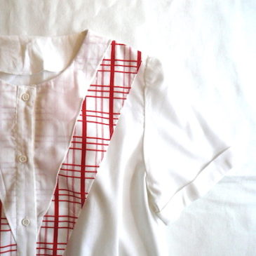 60's cotton blouse & rayon pant