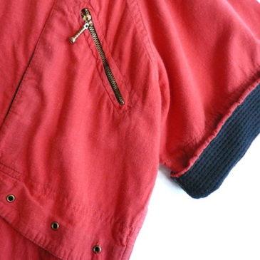 80's red cotton pullover shirt & silk skirt