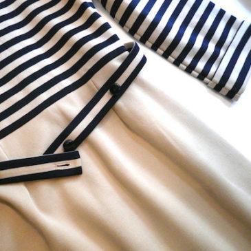 70's horizontal stripe turtle neck dress