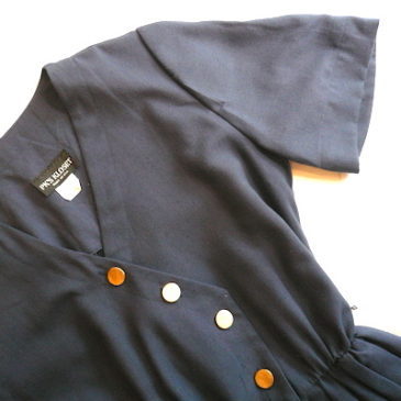late 70's navy gold button one-piece dress