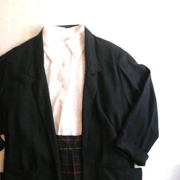 80's tailored collar JKT & pleated skirt