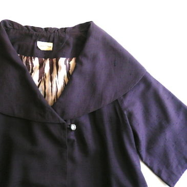 50〜60's purple silk shantung coat