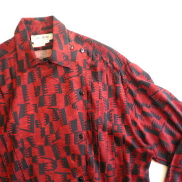 80's black red patterned shirt & corduroy trousers