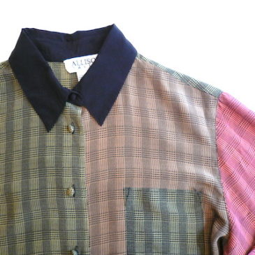 90's glen check panel silk shirt