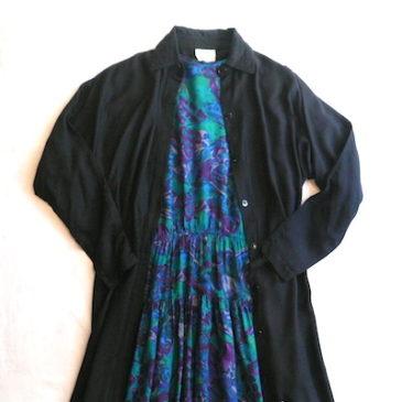 70's flower patterned dress & 90's black dress