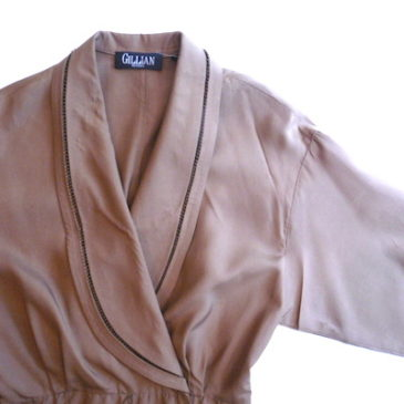 80's brown shawl collar dress