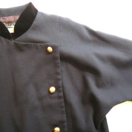 80's navy wool  georgette dress