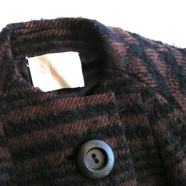60's brown black wool coat