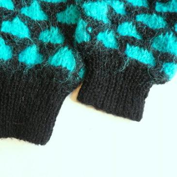 80's mohair sweater & 90's black knit skirt