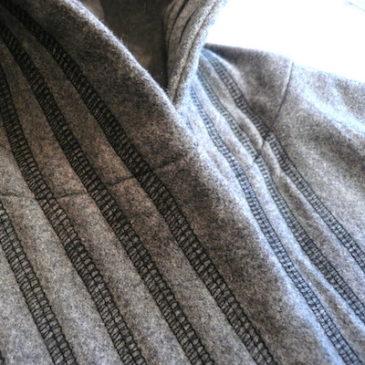 70's gray wool hooded coat & 90's regimental stripe pants