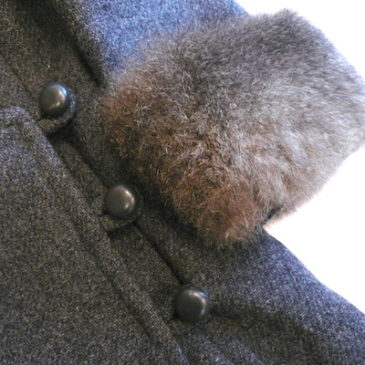 60's charcoal gray fur coat