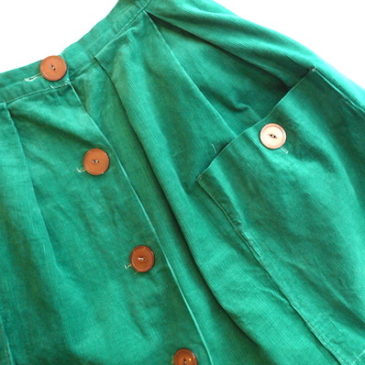 50〜60's black velvet JKT & green corduroy skirt