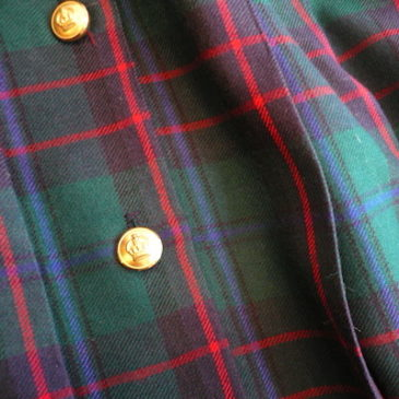 80's tartan check pleated skirt & military sweater