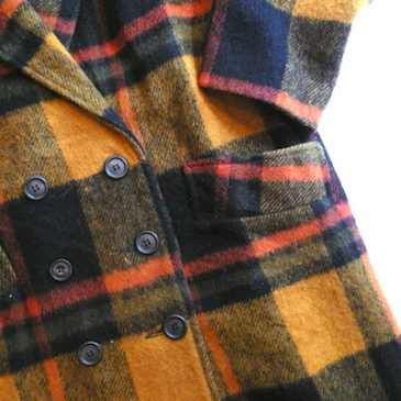 Late 70〜80's orange plaid wool coat