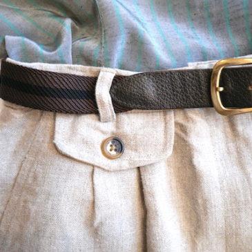 90's〜 stripe  blouse & linen skirt
