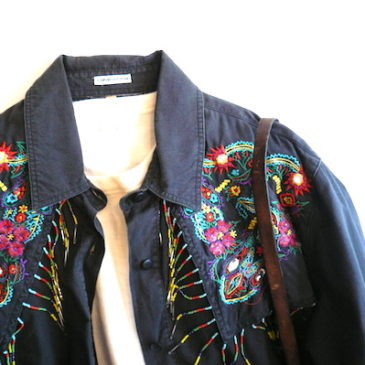 90's beaded fringe cotton shirt