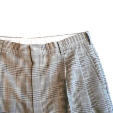 90's〜 linen zip up blouson & plaid slacks