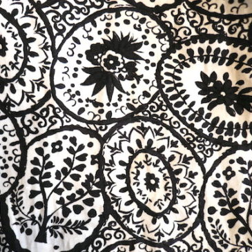 60's flower pattern skirt & 80's black blouse