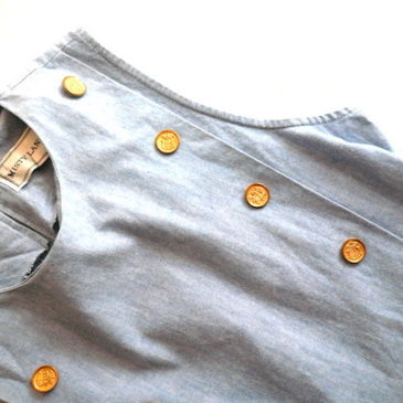80~90's gold button jumper dress