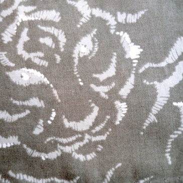 90's silk beige JKT & tiger pattern skirt