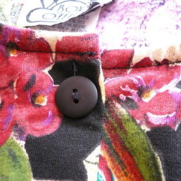 90's flower pattern cut sew & flair skirt