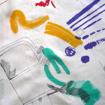 90's retro pattern skirt & silk shirt