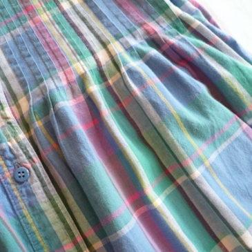 90's madras check pin tack dress