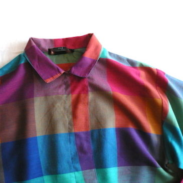 late 70〜80's multi block check blouse