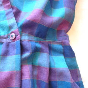 70's blue purple block check dress