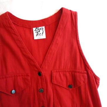 80's red cotton twill jumper dress