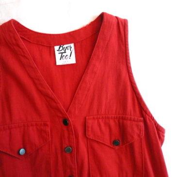 80's red cotton twill jumper dress