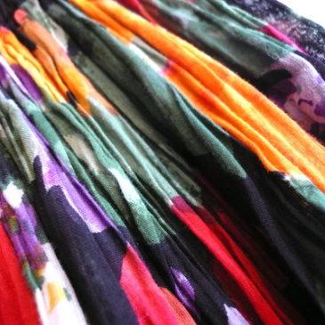 90's linen shirt jkt & flower pattern skirt