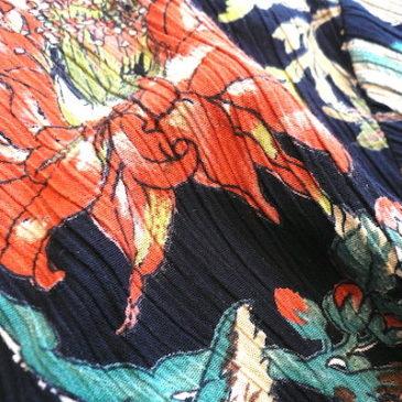 90's oriental flower printed shirt