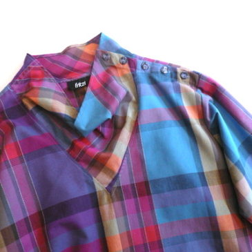 90's purple gradation check blouse