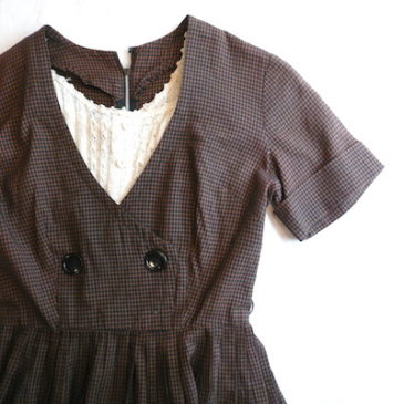 50's brown black plaid dress