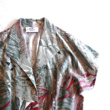 80's tropical print cotton dress