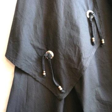 80〜90's concho fringe flared skirt & silk stripe shirt