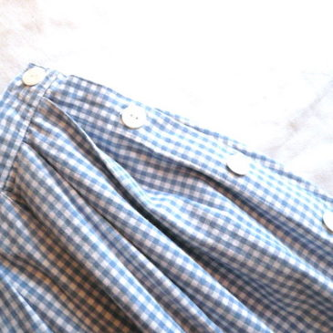 90's white cotton shirt & Gingham long skirt